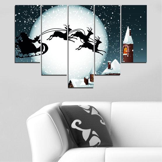 Декоративни панели и картини от канава - от 5 части №0413 » Лилав, Черен, Сив, Бял, Тъмно сив » Нощ, Сняг, Къща, Зима, Дядо коледа, Коледа, Празник, Шейна Form #6