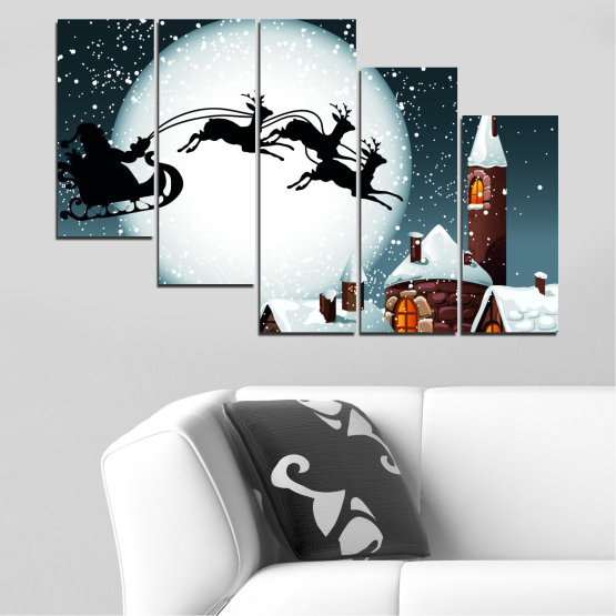 Декоративни панели и картини от канава - от 5 части №0413 » Лилав, Черен, Сив, Бял, Тъмно сив » Нощ, Сняг, Къща, Зима, Дядо коледа, Коледа, Празник, Шейна Form #7