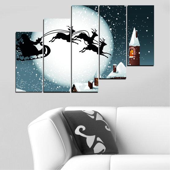 Декоративни панели и картини от канава - от 5 части №0413 » Лилав, Черен, Сив, Бял, Тъмно сив » Нощ, Сняг, Къща, Зима, Дядо коледа, Коледа, Празник, Шейна Form #8