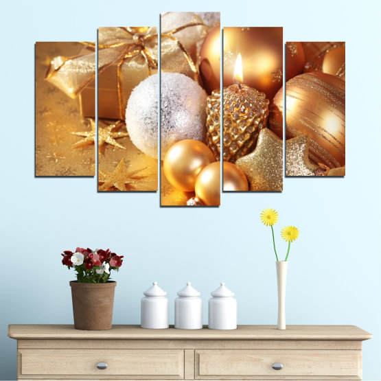 Canvas prints & wall decorative panels - 5 pieces №0414 » Green, Orange, Brown, Beige » Decoration, Christmas, Holiday Form #1