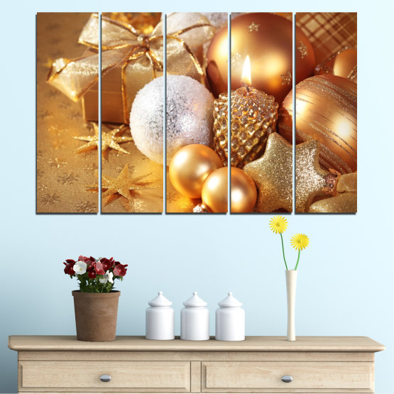 Canvas prints & wall decorative panels - 5 pieces №0414 » Green, Orange, Brown, Beige » Decoration, Christmas, Holiday Form #2