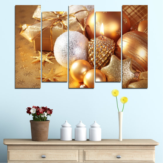 Canvas prints & wall decorative panels - 5 pieces №0414 » Green, Orange, Brown, Beige » Decoration, Christmas, Holiday Form #3