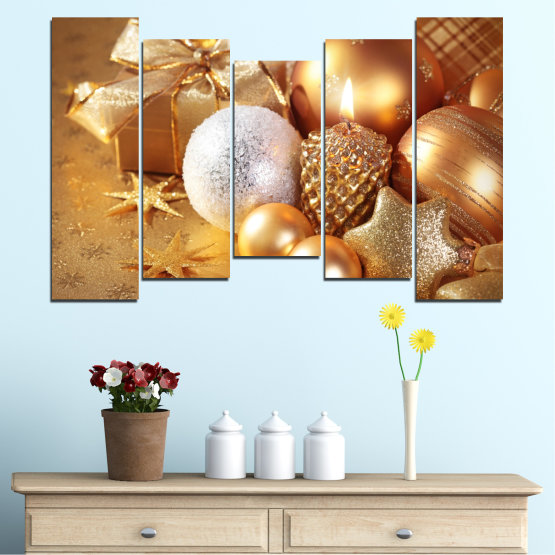 Canvas prints & wall decorative panels - 5 pieces №0414 » Green, Orange, Brown, Beige » Decoration, Christmas, Holiday Form #4