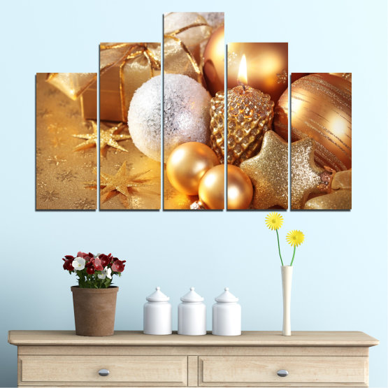 Canvas prints & wall decorative panels - 5 pieces №0414 » Green, Orange, Brown, Beige » Decoration, Christmas, Holiday Form #5