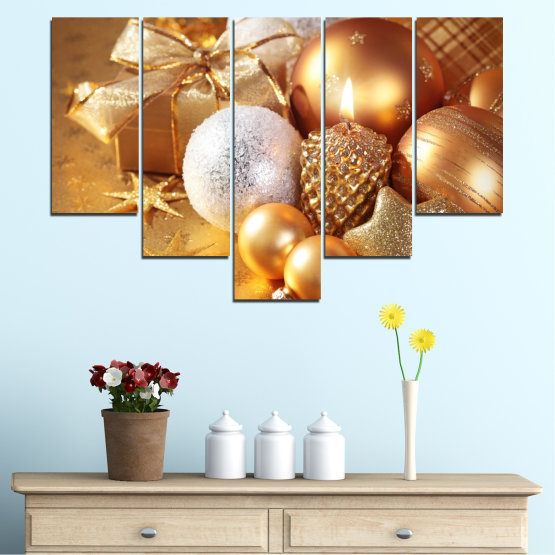 Canvas prints & wall decorative panels - 5 pieces №0414 » Green, Orange, Brown, Beige » Decoration, Christmas, Holiday Form #6