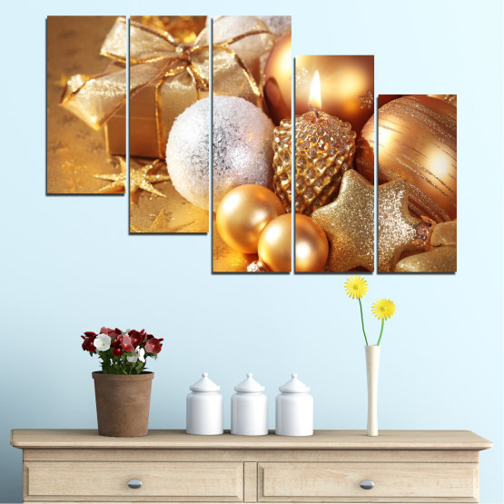 Canvas prints & wall decorative panels - 5 pieces №0414 » Green, Orange, Brown, Beige » Decoration, Christmas, Holiday Form #7