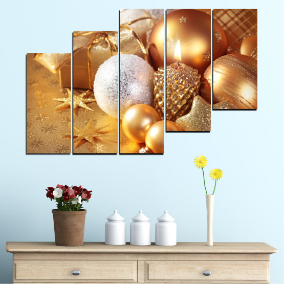Canvas prints & wall decorative panels - 5 pieces №0414 » Green, Orange, Brown, Beige » Decoration, Christmas, Holiday Form #8