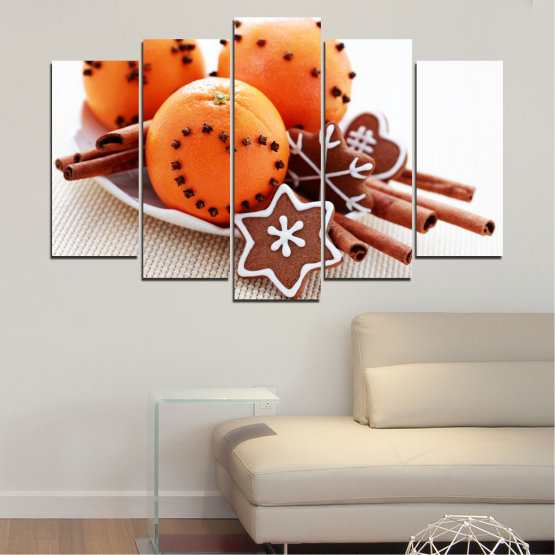 Canvas prints & wall decorative panels - 5 pieces №0415 » Orange, Brown, Gray, White, Beige » Christmas, Pastry, Holiday Form #1