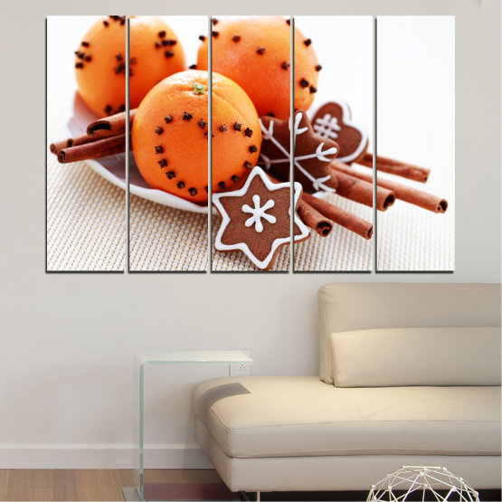 Canvas prints & wall decorative panels - 5 pieces №0415 » Orange, Brown, Gray, White, Beige » Christmas, Pastry, Holiday Form #2
