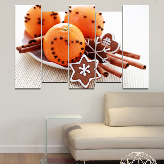 Canvas prints & wall decorative panels - 5 pieces №0415 » Orange, Brown, Gray, White, Beige » Christmas, Pastry, Holiday Form #3