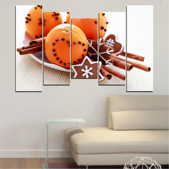 Canvas prints & wall decorative panels - 5 pieces №0415 » Orange, Brown, Gray, White, Beige » Christmas, Pastry, Holiday Form #4