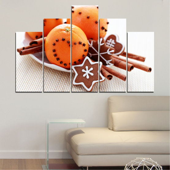 Canvas prints & wall decorative panels - 5 pieces №0415 » Orange, Brown, Gray, White, Beige » Christmas, Pastry, Holiday Form #5
