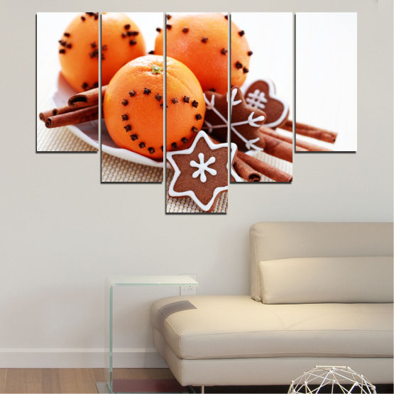 Canvas prints & wall decorative panels - 5 pieces №0415 » Orange, Brown, Gray, White, Beige » Christmas, Pastry, Holiday Form #6