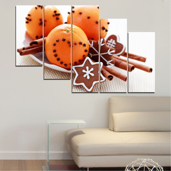 Canvas prints & wall decorative panels - 5 pieces №0415 » Orange, Brown, Gray, White, Beige » Christmas, Pastry, Holiday Form #7