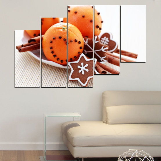 Canvas prints & wall decorative panels - 5 pieces №0415 » Orange, Brown, Gray, White, Beige » Christmas, Pastry, Holiday Form #8