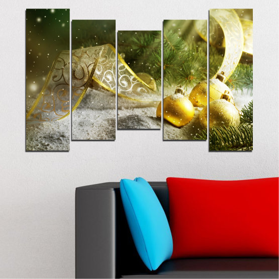 Canvas prints & wall decorative panels - 5 pieces №0416 » Green, Brown, Gray » Decoration, Christmas, Holiday Form #4