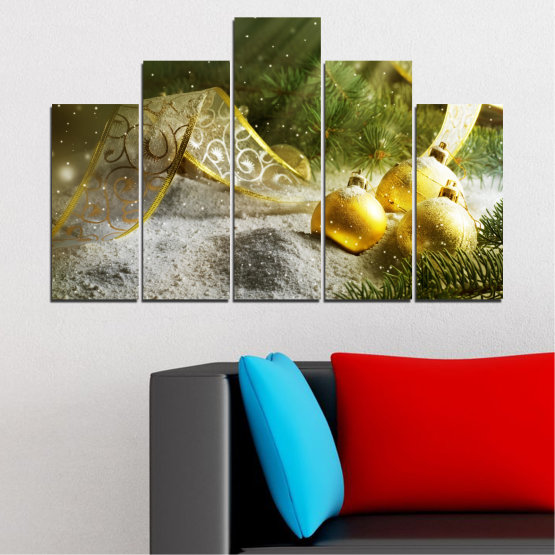 Canvas prints & wall decorative panels - 5 pieces №0416 » Green, Brown, Gray » Decoration, Christmas, Holiday Form #5