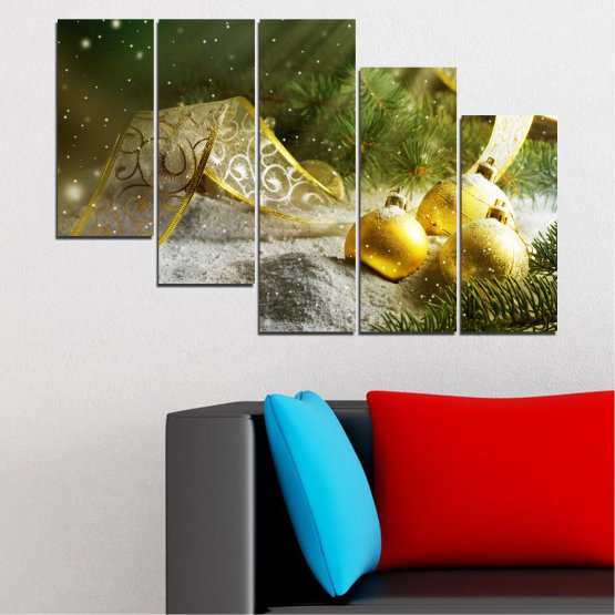 Canvas prints & wall decorative panels - 5 pieces №0416 » Green, Brown, Gray » Decoration, Christmas, Holiday Form #7