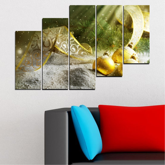 Canvas prints & wall decorative panels - 5 pieces №0416 » Green, Brown, Gray » Decoration, Christmas, Holiday Form #8