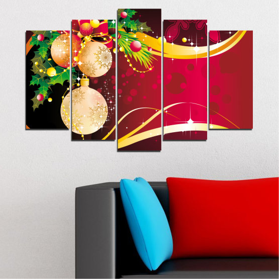 Canvas prints & wall decorative panels - 5 pieces №0417 » Red, Black, Beige » Collage, Decoration, Christmas, Holiday Form #1
