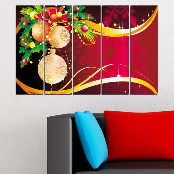 Canvas prints & wall decorative panels - 5 pieces №0417 » Red, Black, Beige » Collage, Decoration, Christmas, Holiday Form #2