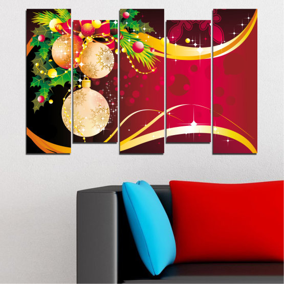 Canvas prints & wall decorative panels - 5 pieces №0417 » Red, Black, Beige » Collage, Decoration, Christmas, Holiday Form #3