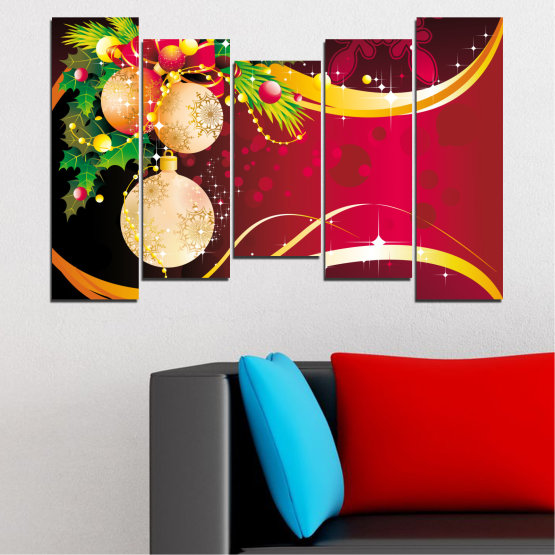 Canvas prints & wall decorative panels - 5 pieces №0417 » Red, Black, Beige » Collage, Decoration, Christmas, Holiday Form #4