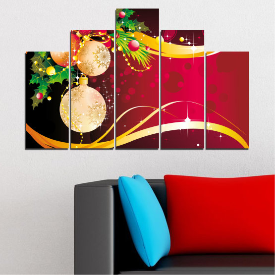 Canvas prints & wall decorative panels - 5 pieces №0417 » Red, Black, Beige » Collage, Decoration, Christmas, Holiday Form #5
