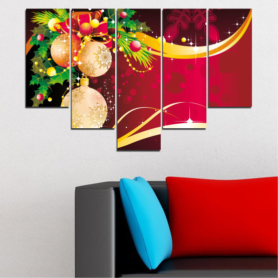 Canvas prints & wall decorative panels - 5 pieces №0417 » Red, Black, Beige » Collage, Decoration, Christmas, Holiday Form #6