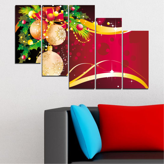 Canvas prints & wall decorative panels - 5 pieces №0417 » Red, Black, Beige » Collage, Decoration, Christmas, Holiday Form #7