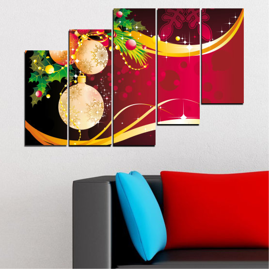 Canvas prints & wall decorative panels - 5 pieces №0417 » Red, Black, Beige » Collage, Decoration, Christmas, Holiday Form #8