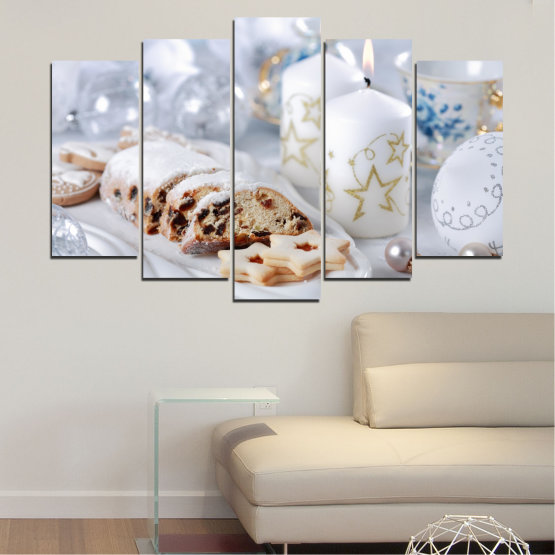 Canvas prints & wall decorative panels - 5 pieces №0418 » Brown, Gray, White » Decoration, Candle, Christmas, Pastry, Holiday Form #1