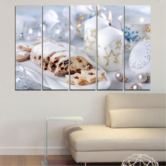 Canvas prints & wall decorative panels - 5 pieces №0418 » Brown, Gray, White » Decoration, Candle, Christmas, Pastry, Holiday Form #2