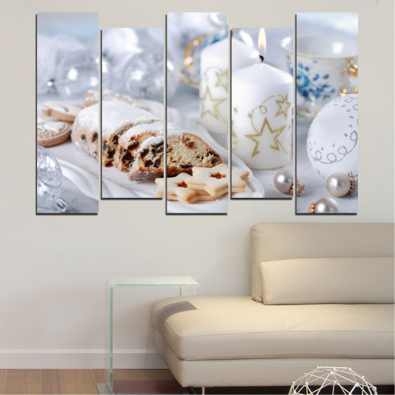 Canvas prints & wall decorative panels - 5 pieces №0418 » Brown, Gray, White » Decoration, Candle, Christmas, Pastry, Holiday Form #3