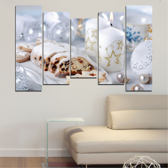 Canvas prints & wall decorative panels - 5 pieces №0418 » Brown, Gray, White » Decoration, Candle, Christmas, Pastry, Holiday Form #4