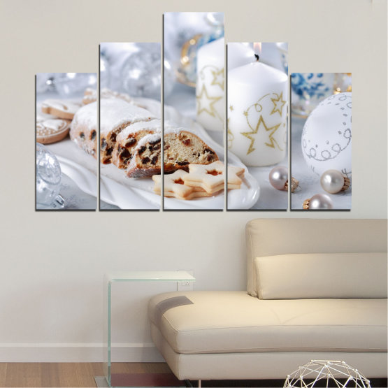 Canvas prints & wall decorative panels - 5 pieces №0418 » Brown, Gray, White » Decoration, Candle, Pastry, Christmas, Holiday Form #5