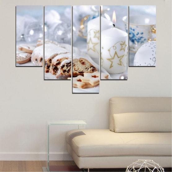 Canvas prints & wall decorative panels - 5 pieces №0418 » Brown, Gray, White » Decoration, Candle, Christmas, Pastry, Holiday Form #6
