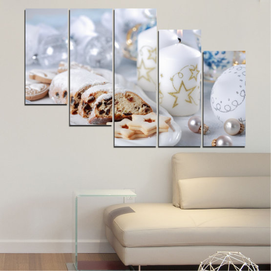 Canvas prints & wall decorative panels - 5 pieces №0418 » Brown, Gray, White » Decoration, Candle, Christmas, Pastry, Holiday Form #7