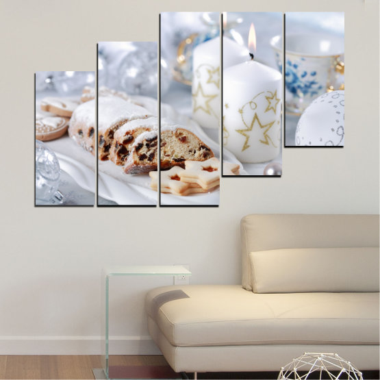 Canvas prints & wall decorative panels - 5 pieces №0418 » Brown, Gray, White » Decoration, Candle, Christmas, Pastry, Holiday Form #8