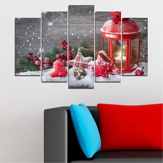 Декоративни панели и картини от канава - от 5 части №0419 » Червен, Кафяв, Сив, Тъмно сив » Украса, Коледа, Празник Form #1