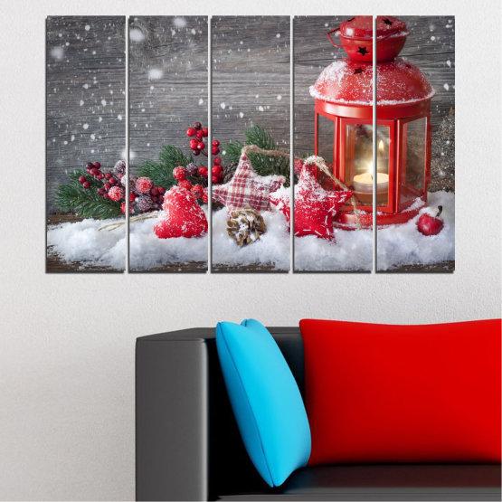 Декоративни панели и картини от канава - от 5 части №0419 » Червен, Кафяв, Сив, Тъмно сив » Украса, Коледа, Празник Form #2