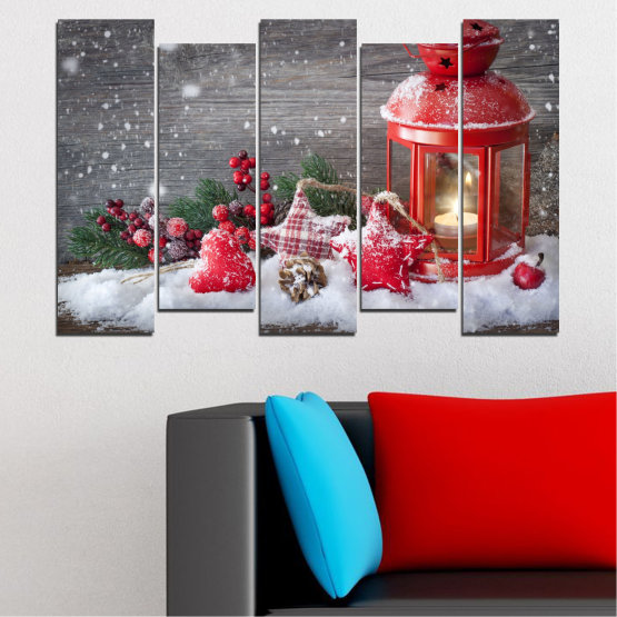 Декоративни панели и картини от канава - от 5 части №0419 » Червен, Кафяв, Сив, Тъмно сив » Украса, Коледа, Празник Form #3