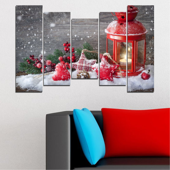 Canvas prints & wall decorative panels - 5 pieces №0419 » Red, Brown, Gray, Dark grey » Decoration, Christmas, Holiday Form #4