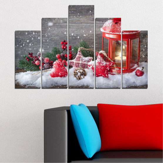 Canvas prints & wall decorative panels - 5 pieces №0419 » Red, Brown, Gray, Dark grey » Decoration, Christmas, Holiday Form #5