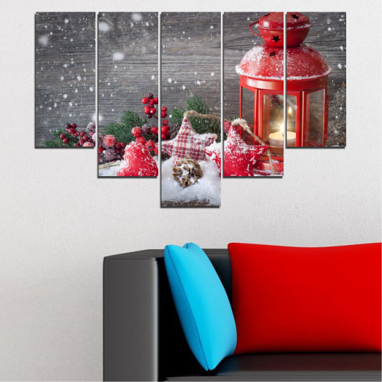 Canvas prints & wall decorative panels - 5 pieces №0419 » Red, Brown, Gray, Dark grey » Decoration, Christmas, Holiday Form #6