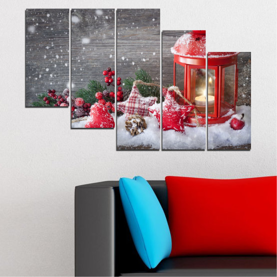 Canvas prints & wall decorative panels - 5 pieces №0419 » Red, Brown, Gray, Dark grey » Decoration, Christmas, Holiday Form #7