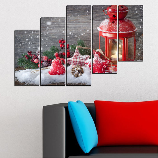 Canvas prints & wall decorative panels - 5 pieces №0419 » Red, Brown, Gray, Dark grey » Decoration, Christmas, Holiday Form #8