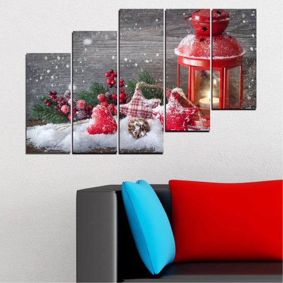 Декоративни панели и картини от канава - от 5 части №0419 » Червен, Кафяв, Сив, Тъмно сив » Украса, Коледа, Празник Form #8