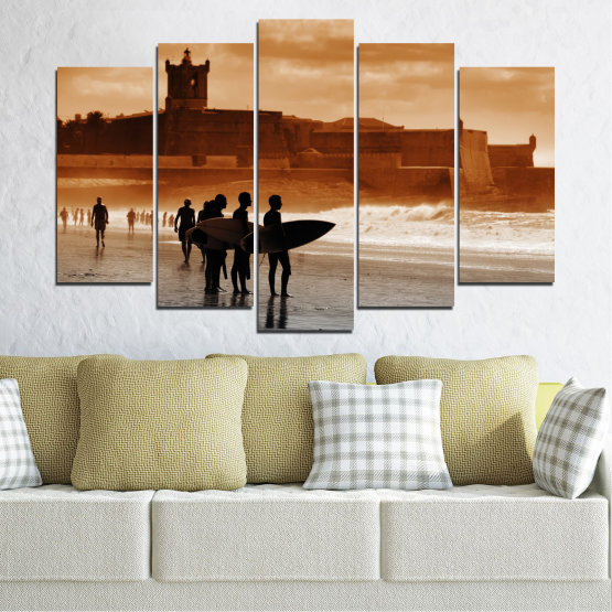 Canvas prints & wall decorative panels - 5 pieces №0042 » Orange, Brown, Gray, Beige » Sea, Summer, Seaside, Sand, Shadow Form #1