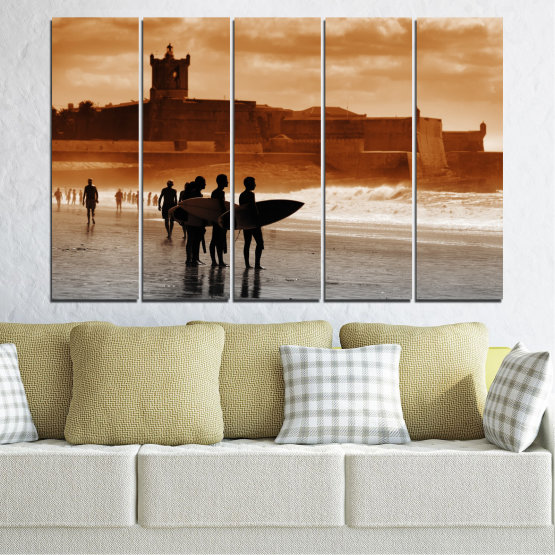 Canvas prints & wall decorative panels - 5 pieces №0042 » Orange, Brown, Gray, Beige » Sea, Summer, Seaside, Sand, Shadow Form #2